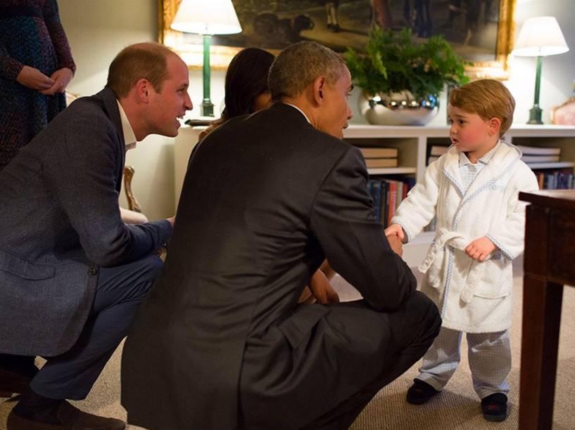 Presidente dos Estados Unidos Barack Obama conhece o pequeno Príncipe George, filho do Príncipe William e da Princesa Kate, Duque e Duquesa de Cambridge - 22/04/2016
