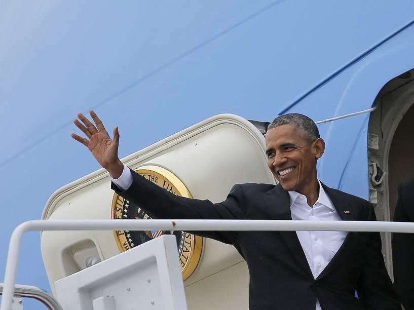 O presidente Barack Obama partiu dos Estados Unidos neste domingo (20) para a história visita a Cuba