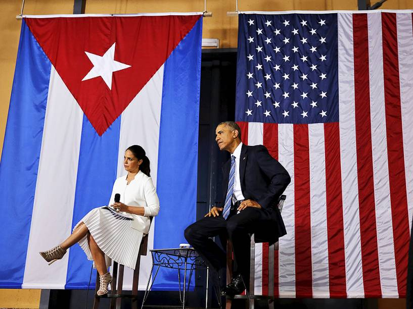 Presidente americano Barack Obama, em encontro com empresários em Havana, na tarde desta segunda-feira (21). Este é o terceiro dia de visitas de Obama à Cuba