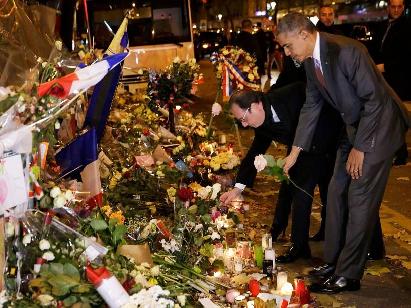 O presidente dos EUA, Barack Obama, prestou uma homenagem às vítimas dos atentados em Paris, depois de ter chegado à capital francesa para participar na Conferência Mundial do Clima, (COP21)<br><br><br>