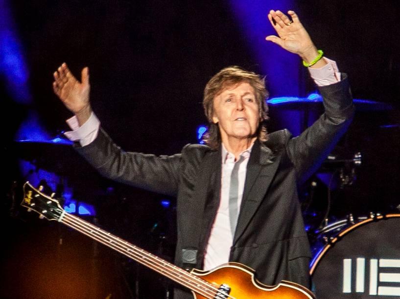 Paul McCartney durante show desta quarta-feira (26) na cidade de São Paulo/SP