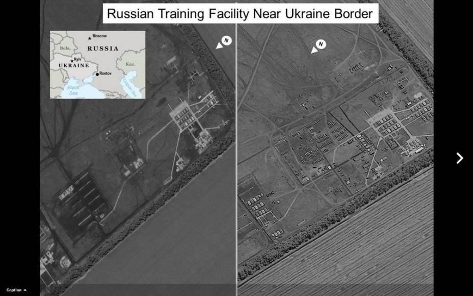 Fotos de satélite da inteligência dos EUA mosram um campo de treinamento militar russo próximo à fronteira da Ucrânia