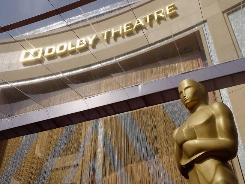 Momentos antes do início do Oscar 2016 no Teatro Dolby, em Los Angeles