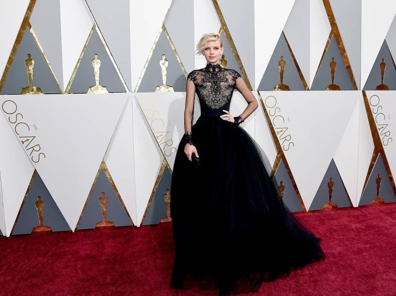 A modelo Dorith Mous antes do início do Oscar 2016 no Teatro Dolby, em Los Angeles