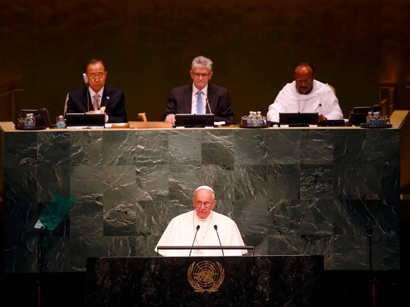 Papa Francisco durante discurso na ONU, em 25/09/2015