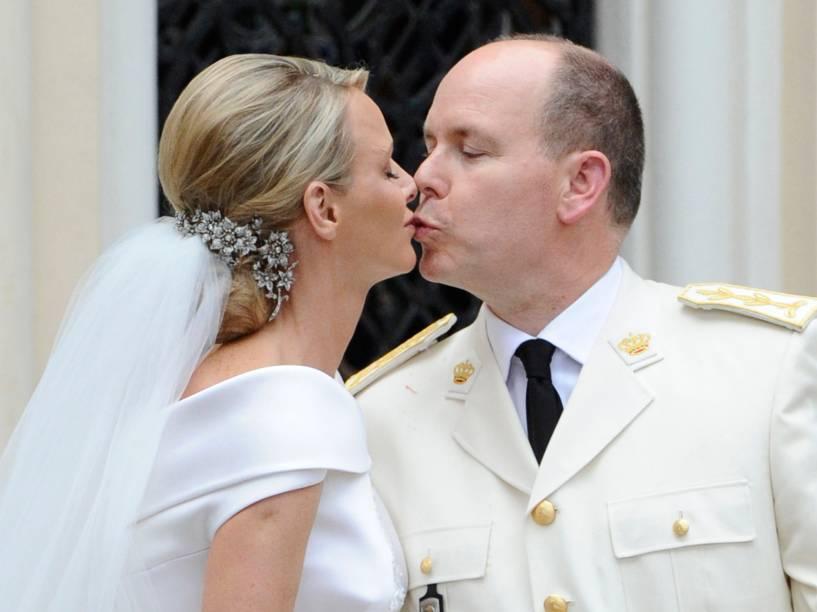 No casamento com a nadadora sul-africana Charlene Lynette Wittstock, em 2011