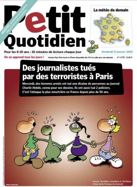 """Jornal francês Le Petit Quotidien e a manchete """"Jornalistas mortos por terroristas em Paris"""". Abaixo, personagens de quadrinhos são retratados """"tristes após o ataque da quarta-feira"""""""