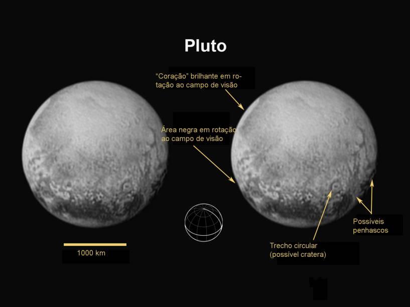 <p>Os astrônomos da Nasa identificaram o polo norte, equador e meridiano central de Plutão</p>