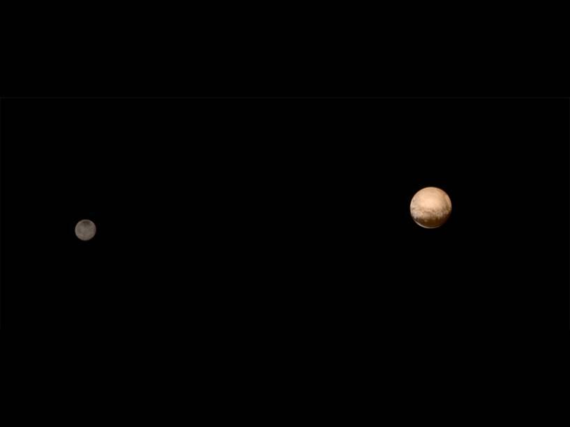 <p>Nova imagem de Plutão e sua lua Caronte em que os cientistas adicionaram informações de cor: é com esse aspecto que os corpos celestes seriam vistos por olhos humanos</p>