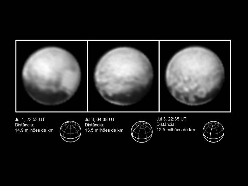 <p>Três imagens de Plutão enviadas pela New Horizons que indicam distâncias diferentes do planeta</p>