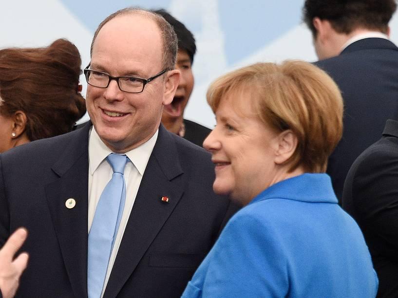 Com a chanceler da Alemanha Angela Merkel, na 21ª Cúpula do Clima, realizada em Paris, em dezembro