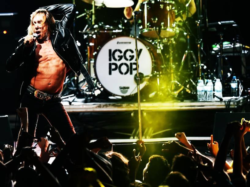 O cantor Iggy Pop, foi uma das atrações do festival Popload em São Paulo, nesta sexta-feira (16)