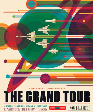 """<p>""""Uma missão da Nasa, chamada Voyager, se aproveitou de um alinhamento entre planetas – que acontece uma vez a cada 175 anos – para realizar uma grande viagem no Sistema Solar. A nave espacial revelou detalhes sobre Júpiter, Saturno, Urano e Netuno, usando a gravidade de cada planeta para impulsionar a nave até o próximo"""", explica a descrição do pôster. """"Uma escapada que acontece uma vez na vida: a grande viagem. Experimente o charme da gravidade assistida"""", diz o pôster.</p>"""