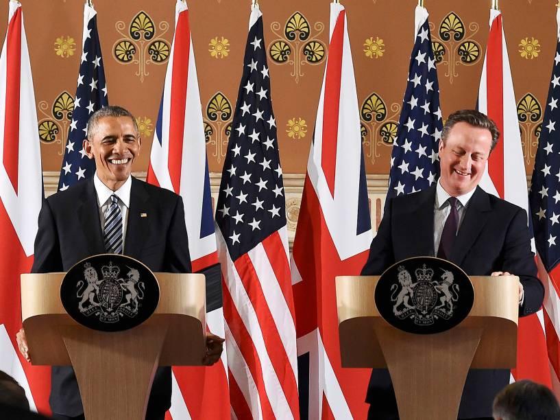 Presidente do Estados Unidos, Barack Obama, discursa ao lado do Primeiro-Ministro inglês, David Cameron - 22/04/2016