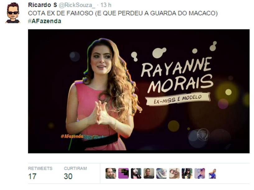 Rayanne Morais, ex do cantor Latino, perdeu a guarda do macaco Twelves para ele, mas entrou em A Fazenda.