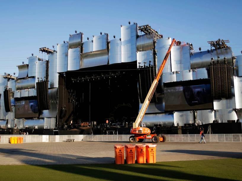 Últimos preparativos do Rock in Rio edição 2015 do festival, que começa na sexta (18), no Rio de Janeiro