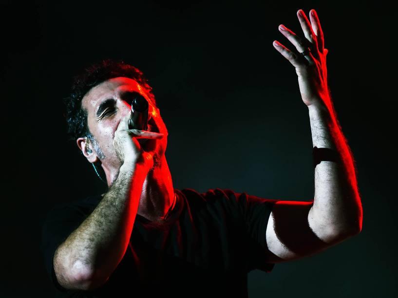 System Of a Down durante show no quarto dia do Rock in Rio, zona oeste do Rio de Janeiro, na noite desta quinta-feira (24)