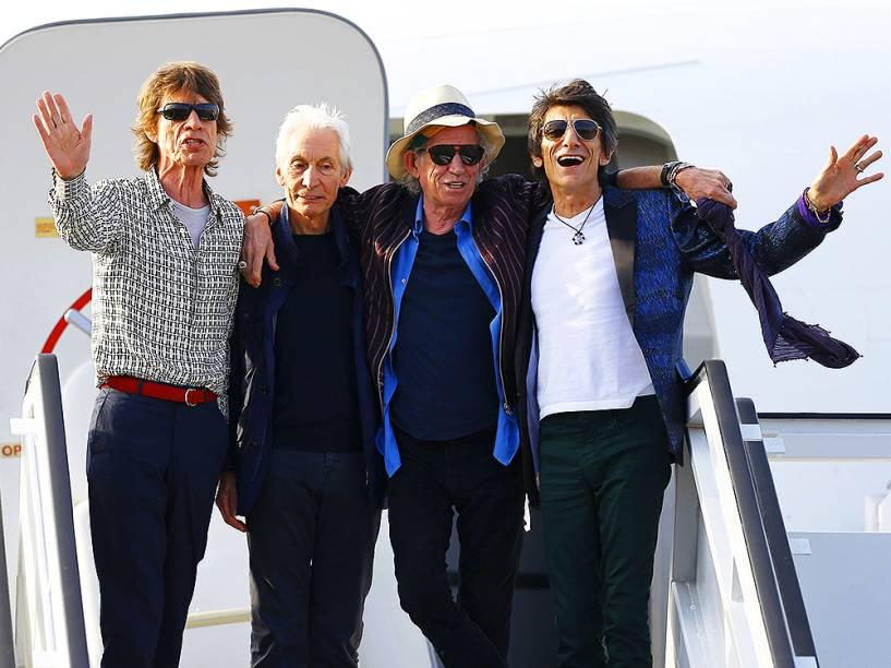A banda inglesa The Rolling Stones, chega à Havana, em Cuba, nesta quinta-feira (24), para apresentação da turnê Olé