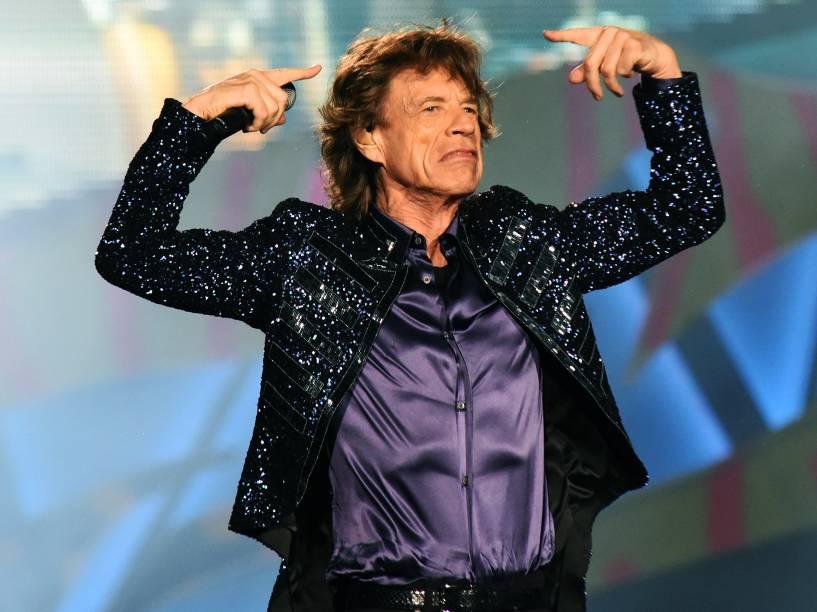 """O vocalista Mick Jagger da banda inglesa Rolling Stones se apresenta em Porto Alegre (RS) com a turnê """"Olé"""""""