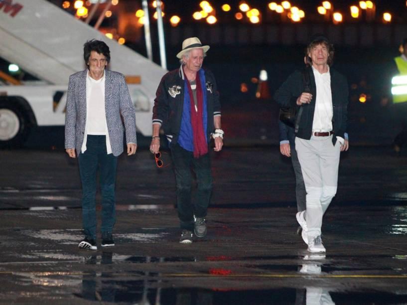 Rolling Stones desembarcam no Brasil na Base Aérea do Galeão, no Rio de Janeiro