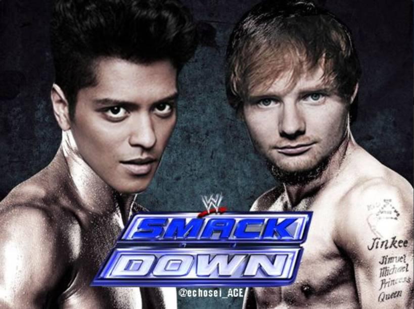 Montagem faz referência à falsa briga entre Bruno Mars e Ed Sheeran no Twitter