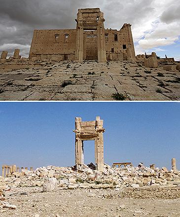 Ruinas do Templo de Bel, localizada em Palmira, na Síria, em março de 2014 (acima), e em março de 2016, após os ataques do grupo Estado Islâmico