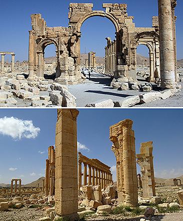 Arco do Triunfo, localizada na cidade histórica de Palmira, na Síria, em junho de 2010 (acima), e em outubro de 2015, após os ataques do grupo Estado Islâmico na região