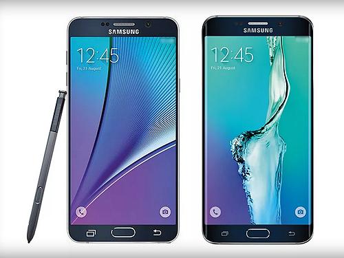 Galaxy Note 5 (lado esquerdo) e Galaxy S6 Edge Plus (lado direito)