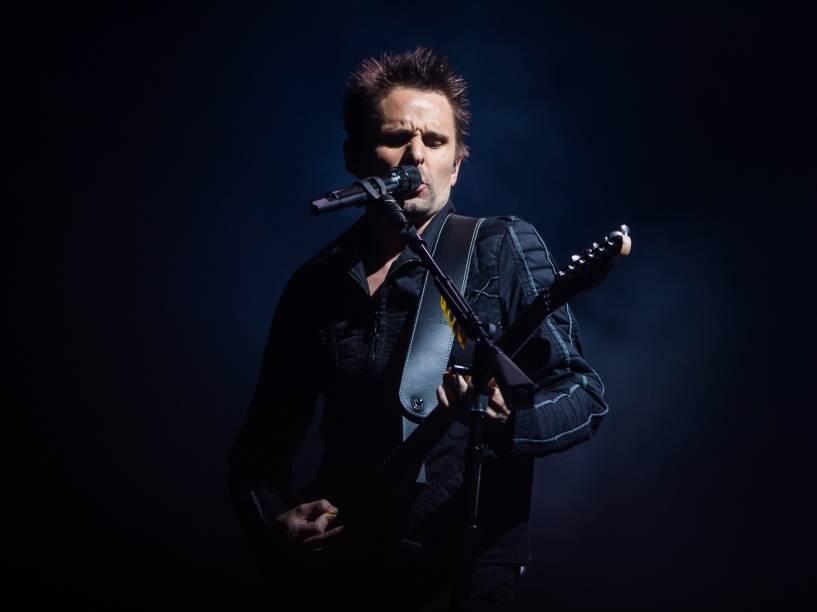 Matt Bellamy, vocalista do Muse durante apresentação no Allianz Parque em São Paulo