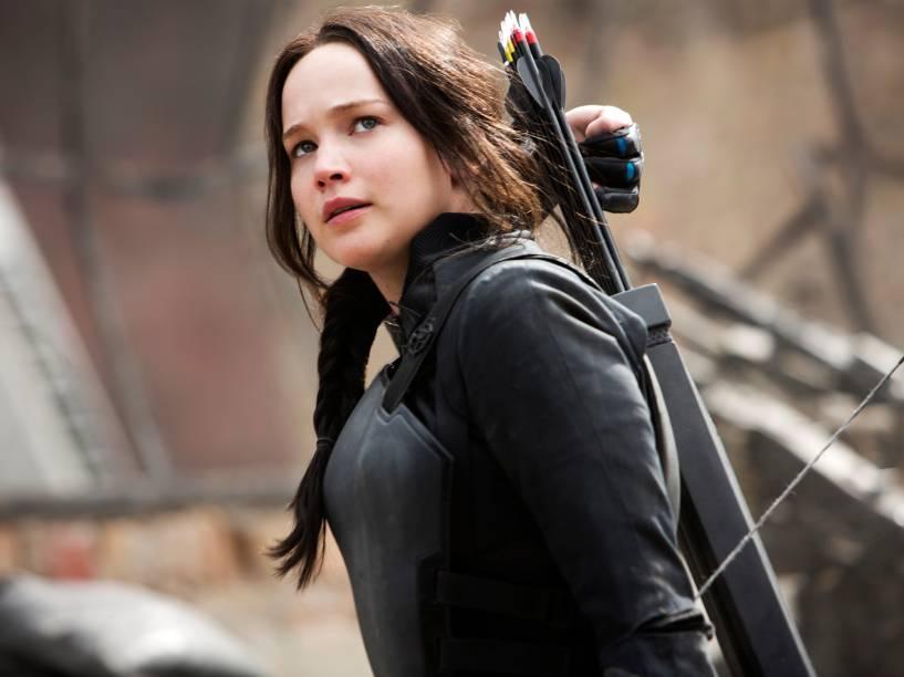 Jennifer Lawrence durante o filme Jogos Vorazes: A Esperança - Parte I