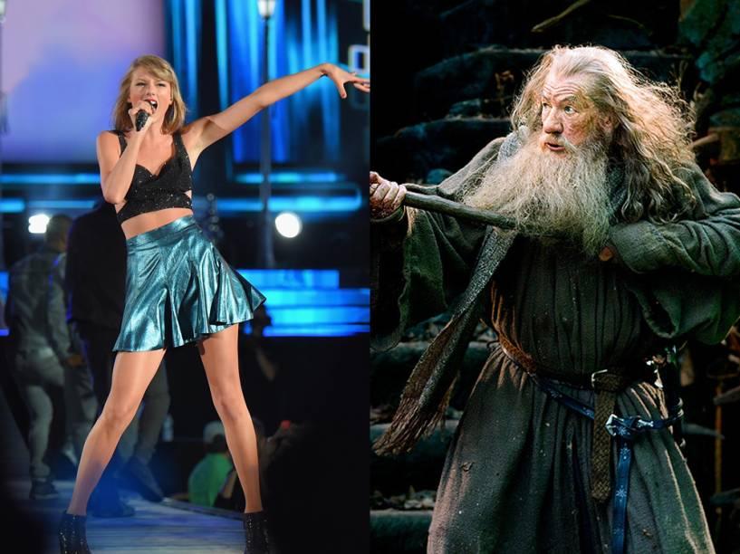 Taylor Swift e Gandalf, interpretado por Ian McKellen nos filmes O Hobbit e O Senhor dos Anéis