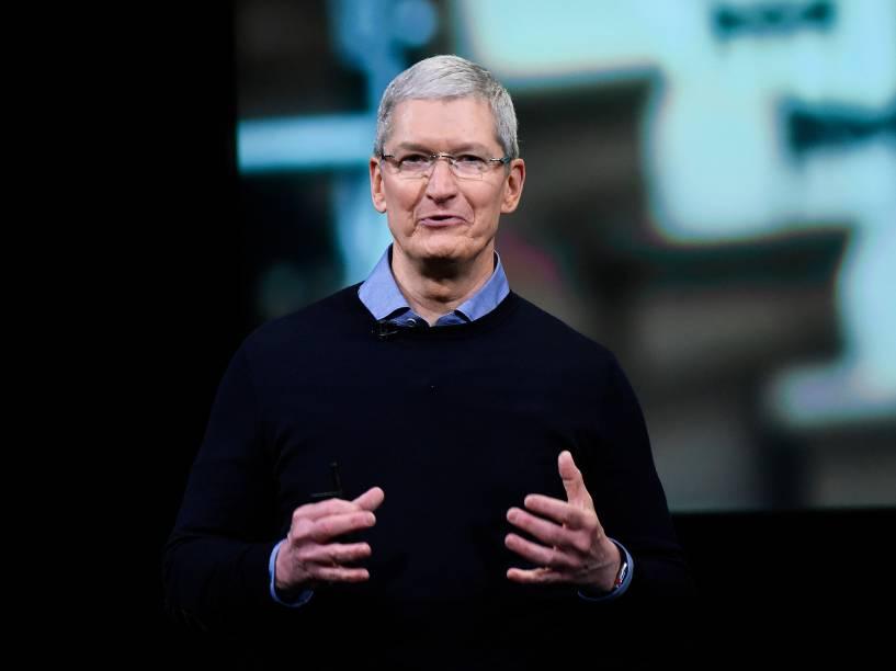 Tim Cook, CEO da Apple, em lançamento dos novos produtos da companhia na sede de Cupertino, na Califórnia