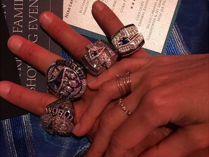 Os anéis de campeão da Liga de Futebol Americano, de Tom Brady