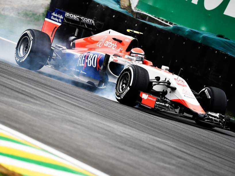 Alexander Rossi, durante os treinos livres para o GP do Brasil de F-1, no circuito de Interlagos