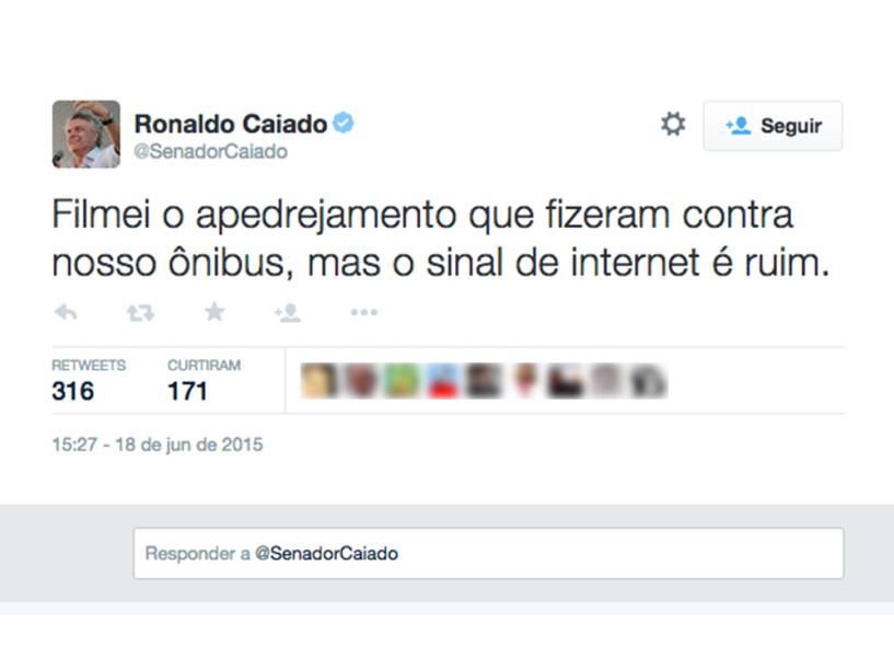 Tuíte do senador Ronaldo Caiado