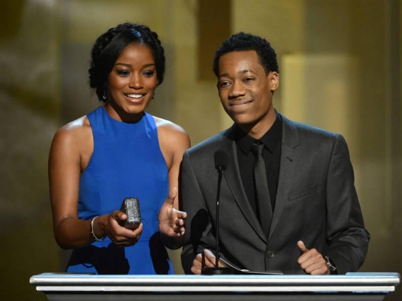 Os atores Keke Palmer e Tyler James Williams durante o Prêmio de Imagem NAACP em 2013, na cidade de Los Angeles