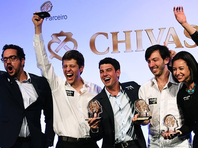 Vencedores do Prêmio Jovens Inspiradores 2014: André Barrence, Alexandre Schmidt de Amorim, Izabela Correa, Lucas Lucchesi e Guilherme Finkelfarb Lichand