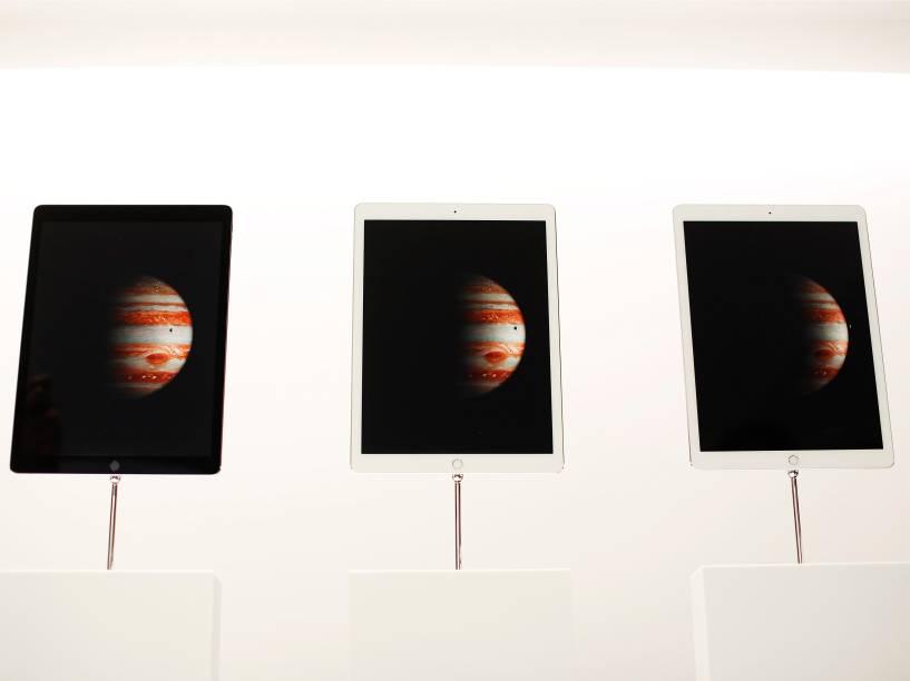 Novos iPads Pro da Apple em exposição para o público após evento de lançamentos da companhia, em São Francisco, na Califórnia - 09/09/2015