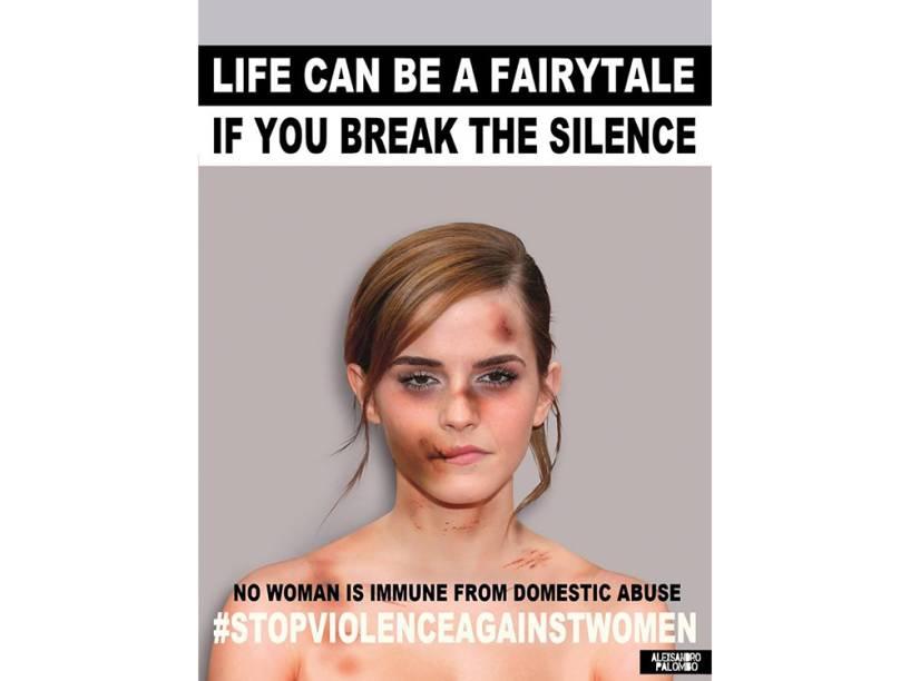 A atriz Emma Watson em imagem da campanha criada pelo artista Alexsandro Palombo contra a violência doméstica