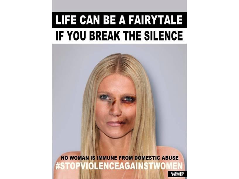 A atriz Gwyneth Paltrow em imagem da campanha criada pelo artista Alexsandro Palombo contra a violência doméstica