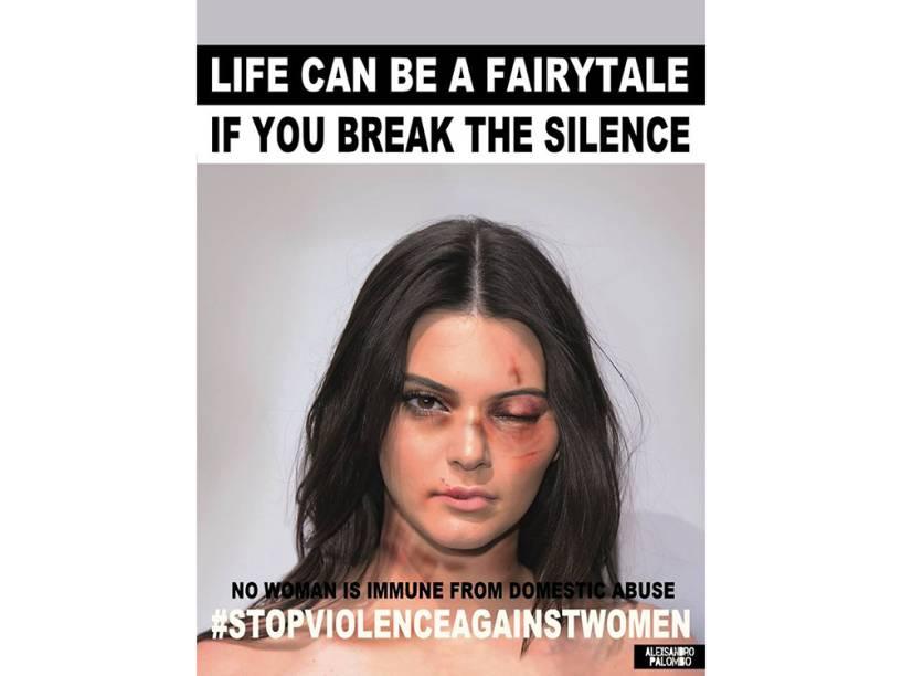 Kendall Jenner na campanha do artista Alexsandro Palombo contra a violência doméstica