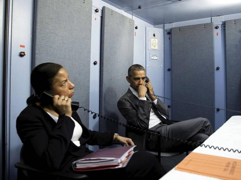 O presidente dos EUA, Barack Obama, e a Conselheira de Segurança Nacional, Susan Rice, na Argentina