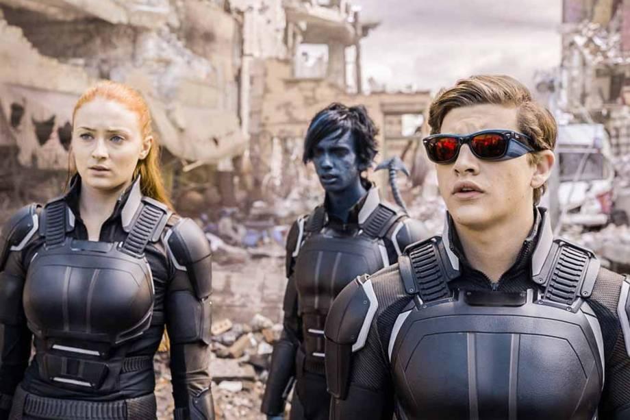 Kodi Smit-McPhee, Sophie Turner e Tye Sheridan em cena de X-Men: Apocalipse