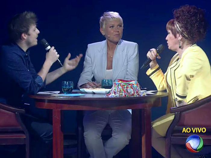 Xuxa, Fábio Porchat e Nany People no quadro Meias Verdades, da Xuxa