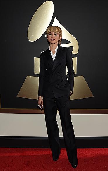 Zendaya durante a 58ª edição do Grammy, premiação que elege os melhores da música internacional, que acontece nesta segunda-feira (15)