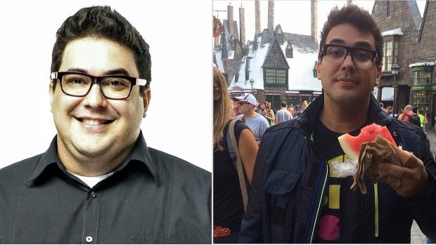 Apresentador André Marques antes e depois de cirurgia bariátrica