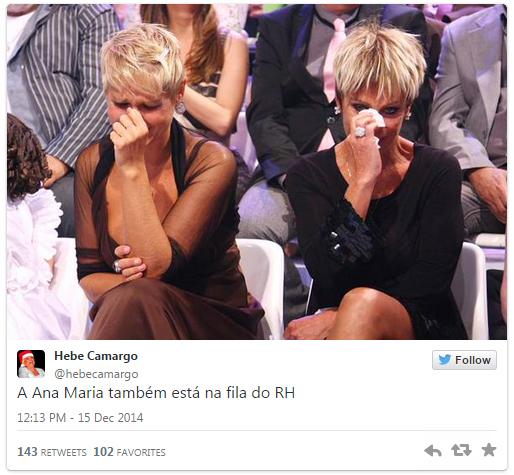 Não está fácil para ninguém: Xuxa se junta a Ana Maria Braga na fila do RH