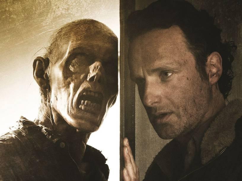 Andrew Lincoln como Rick Grimes na sexta temporada de The Walking Dead