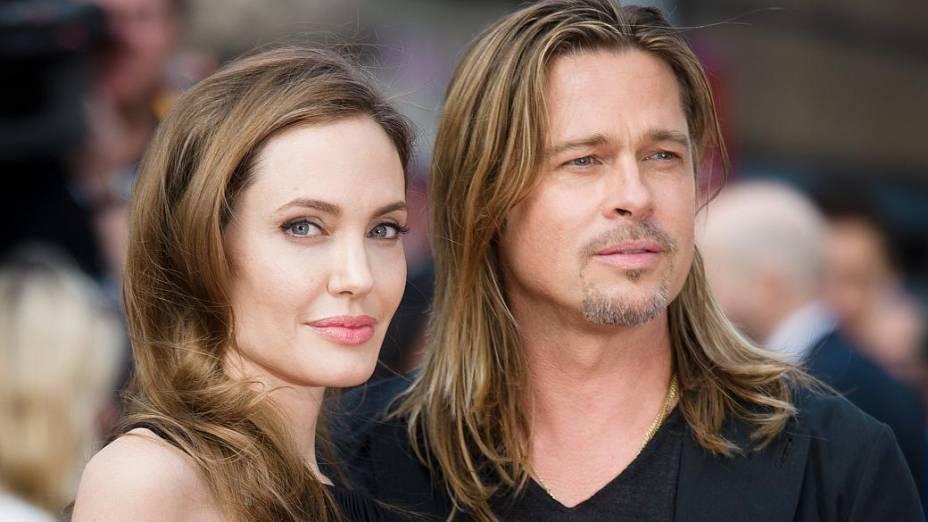 Angelina Jolie e Brad Pitt na estreia do filme Guerra Mundial Z