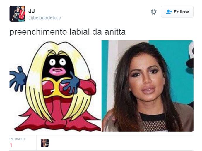 Anitta também foi comparada ao personagem Jynx, do desenho Pokémon